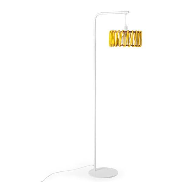 Lampa stojąca z białą konstrukcją i małym żółtym kloszem EMKO Macaron