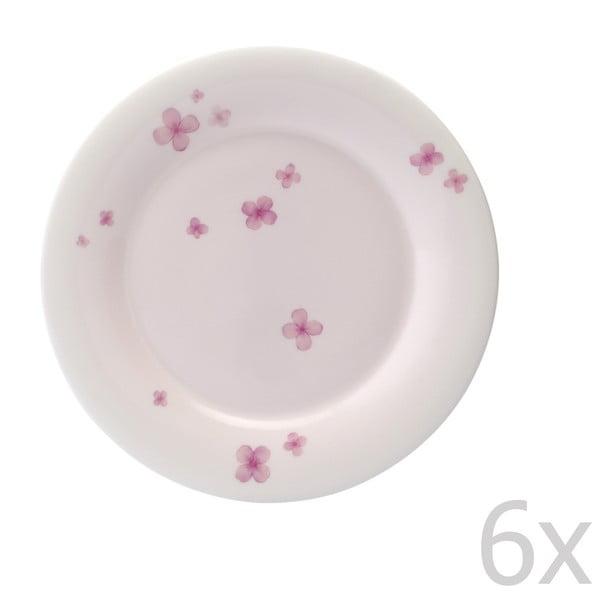 Sada 6 talířů z kostního porcelánu Petal, 21 cm