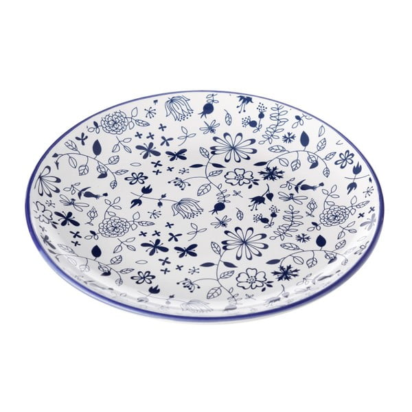 Modro-bílý talíř Unimasa Bug, Ø 20,3 cm
