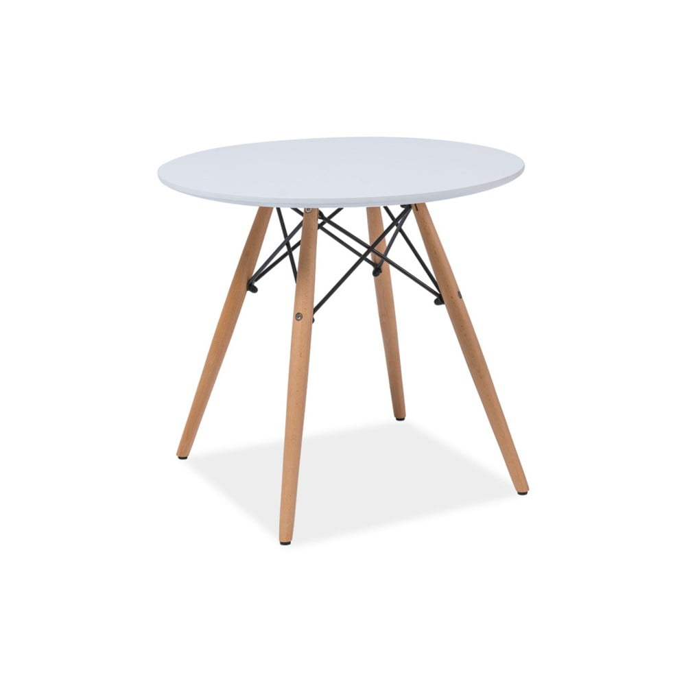 Bílý kulatý stůl s nohama z kaučukového dřeva Signal Soho, ⌀80cm