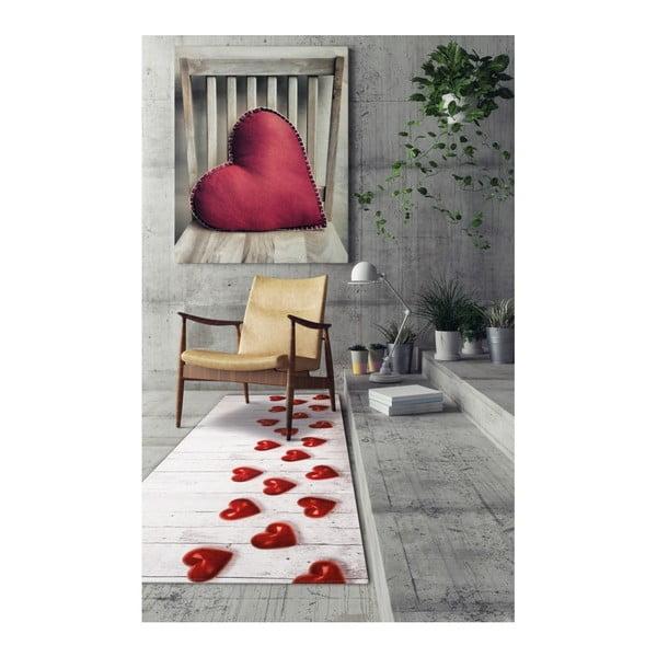 Vysoce odolný koberec Floorita Hearts, 58x115cm