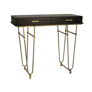 Černý konzolový stolek z mangového dřeva s detaily ve zlaté barvě Miloo Home Savoy