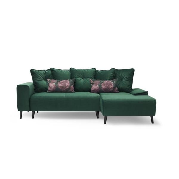 Canapea extensibilă și șezlong pe partea dreaptă Bobochic Paris Hera Bis, verde