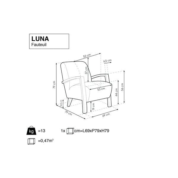 Světle šedé křeslo se světlými nohami Windsor & Co Sofas Luna