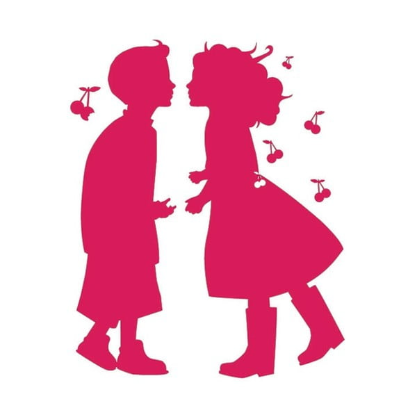 Samolepka na zeď Pink Love, 70x90 cm