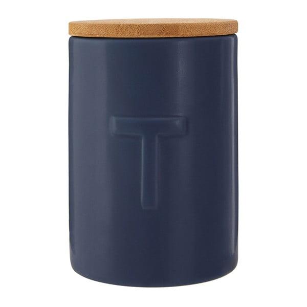 Recipient pentru ceai cu capac din lemn de bambus Premier Housewares Fenwick, albastru închis
