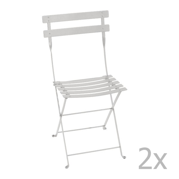 Sada 2 světle šedých skládacích židlí Fermob Bistro