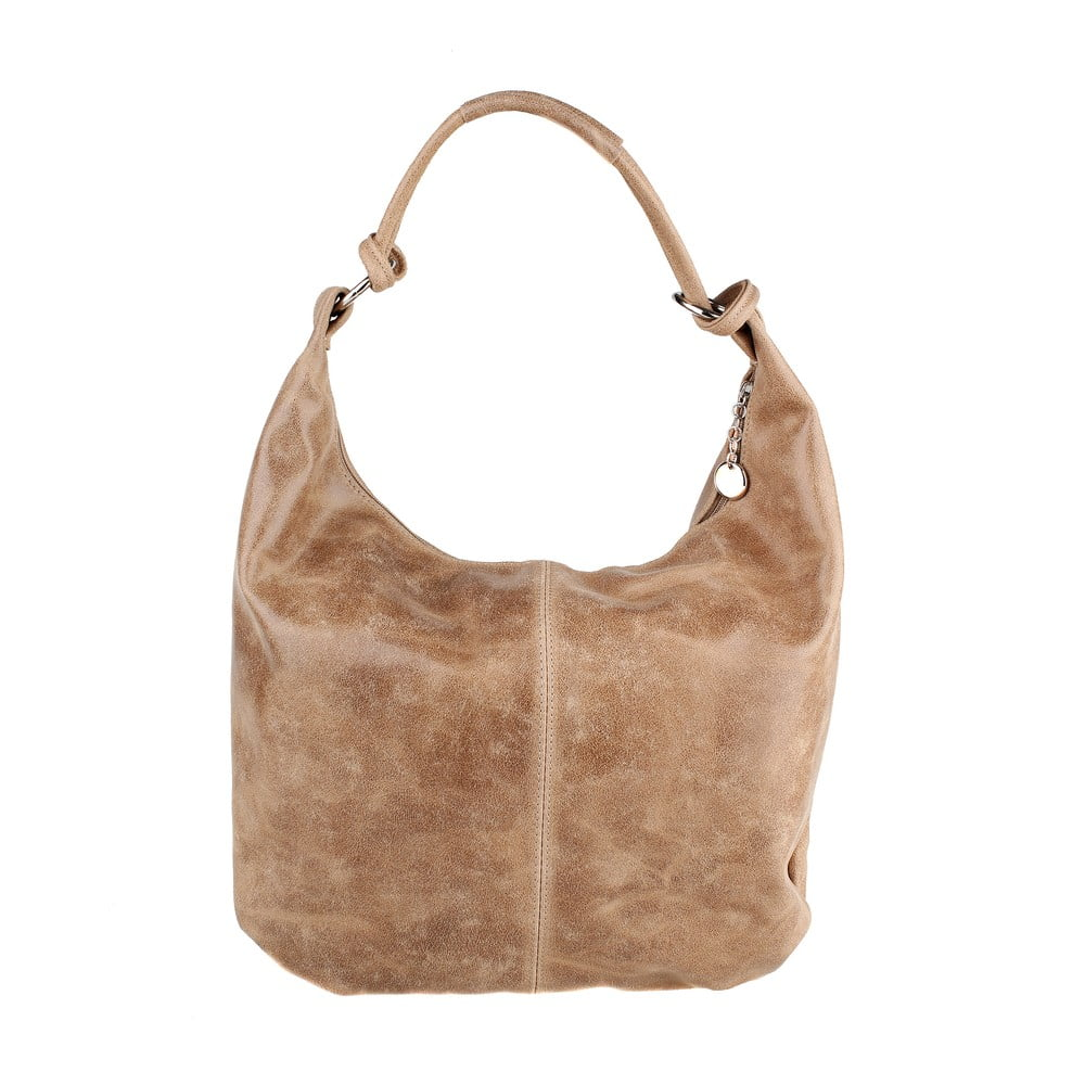 Béžová kožená kabelka Chicca Borse Chunli