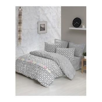 Lenjerie de pat cu cearșaf din bumbac ranforce, pentru pat dublu Mijolnir Sonic White, 200 x 220 cm