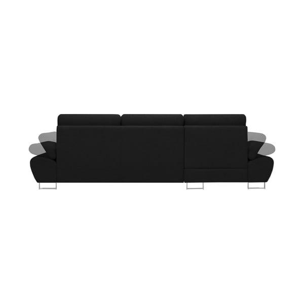 Černá rozkládací rohová pohovka Windsor & Co Sofas Pi, levý roh
