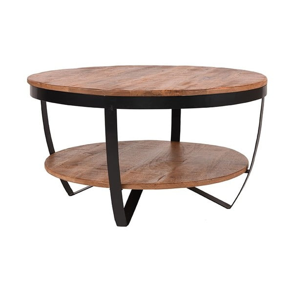 Rondo dohányzóasztal mangófa lappal, ⌀ 80 cm - LABEL51