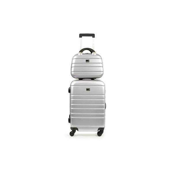 Šedý cestovní kufr s příručním zavazadlem BlueStarManhattan, 49l