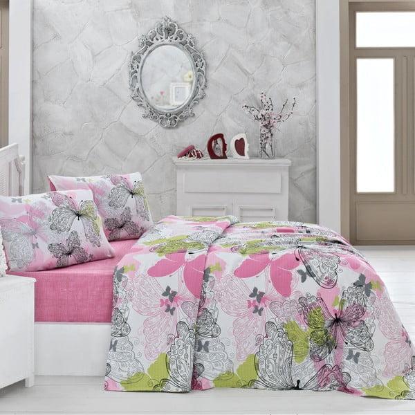 Belinda rózsaszín kétszemélyes pamut ágytakaró, 200 x 220 cm