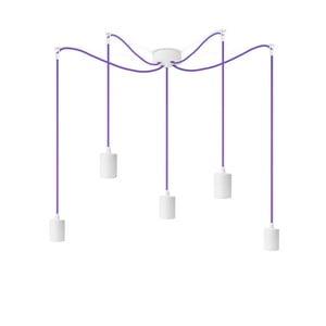 Bílé závěsné svítidlo s 5 fialovými kabely Bulb Attack Cero