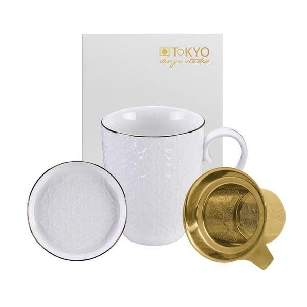 Biely set na čaj Tokyo Design Studio Nippon Stripe, 380 ml
