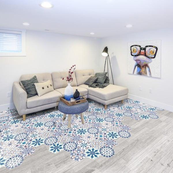 Zestaw 10 naklejek na podłogę Ambiance Floor Stickers Hexagons Tisila, 40x90 cm