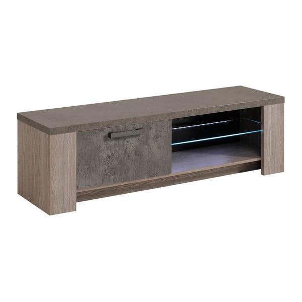 TV stolek v dekoru dubového dřeva s detaily v betonovém dekoru Parisot Roye