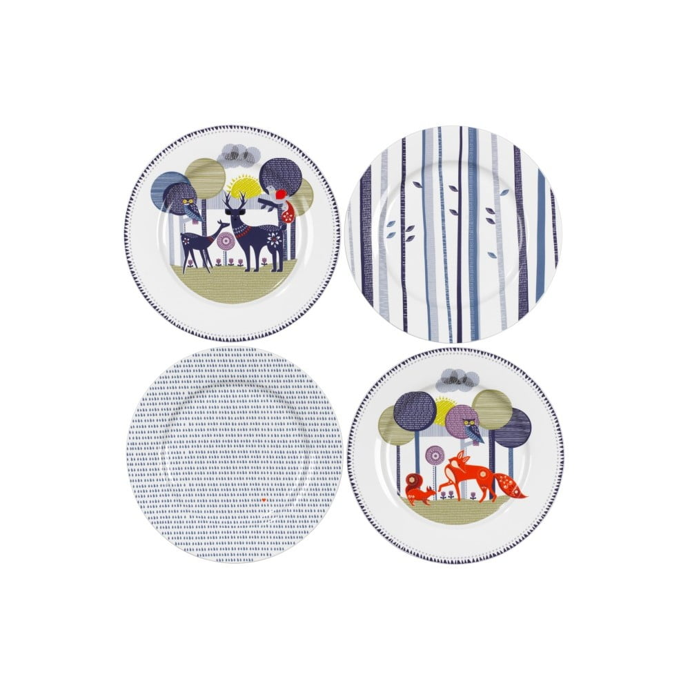 Sada 4 keramických talířů Folklore
