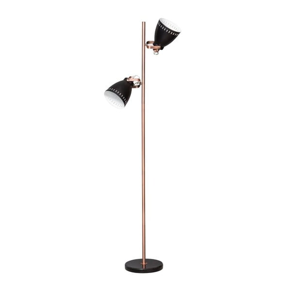 Černo-měděná stojací lampa ETH Acate Jay