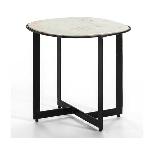 Odkládací stolek s mramorovou deskou a černými nohami Thai Natura, ∅51cm