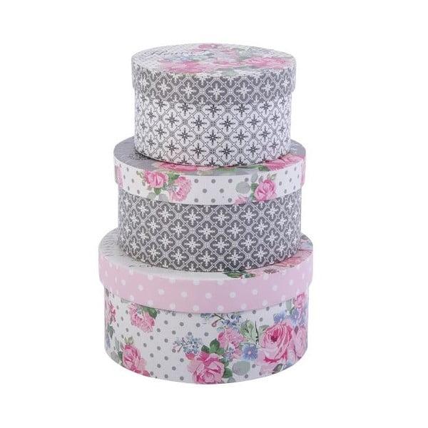 Sada 3 úložných krabic Les Fleurs