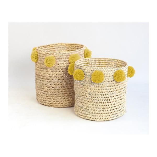 Set 2 coșuri cu pompoane galbene Madre Selva Milo Basket