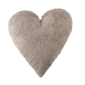 Pernă din bumbac lucrată manual Lorena Canals Heart, 47 x 50 cm, bej