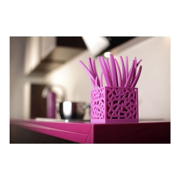Sada 24 fialových příborů se stojanem Vialli Design  Mia