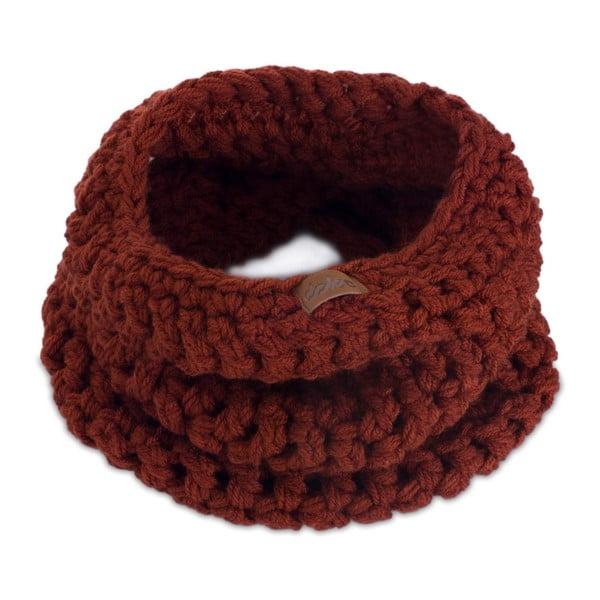 Eșarfă rotundă tricotată manual DOKE Marsala, maro