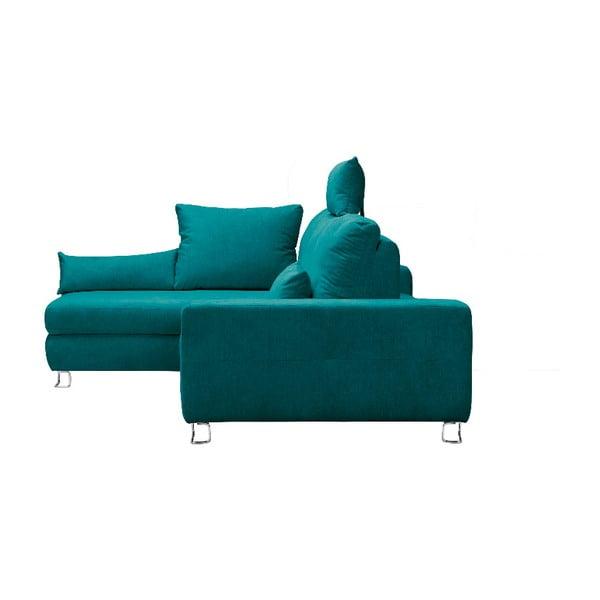 Tyrkysová rohová rozkládací pohovka Windsor & Co Sofas, levý roh Alpha