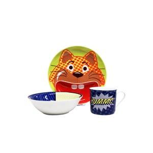 Dětský snídaňový set z kostního porcelánu Silly Design Pop cat