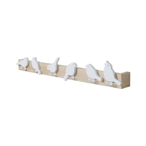 Cuier de perete cu 6 cârlige Furniteam Bird, maro - alb