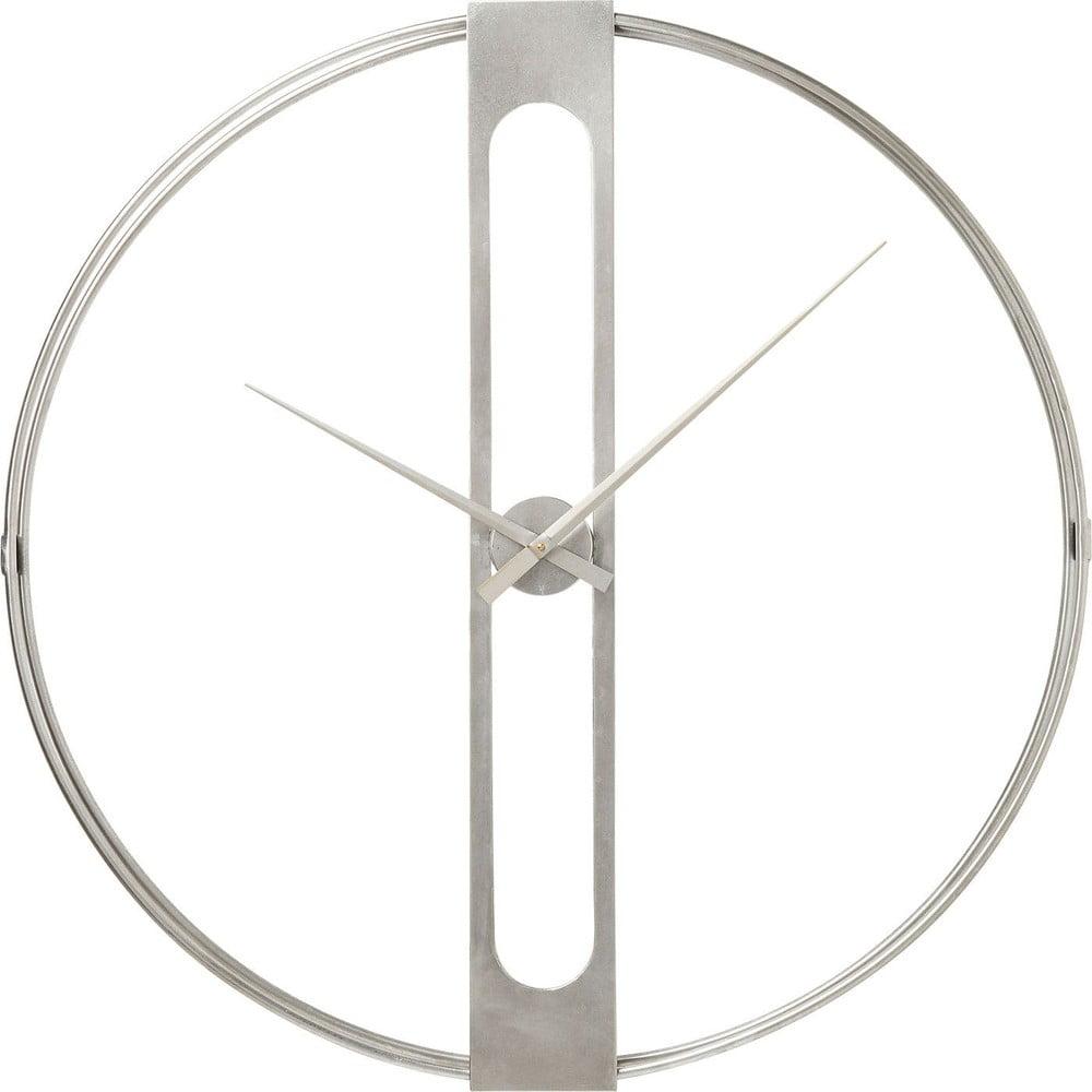 Nástěnné hodiny ve stříbrné barvě Kare Design Clip, průměr 60cm