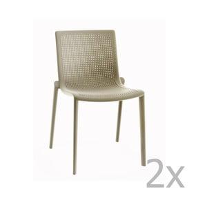 Sada 2 pískově hnědých zahradních židlí Resol Beekat