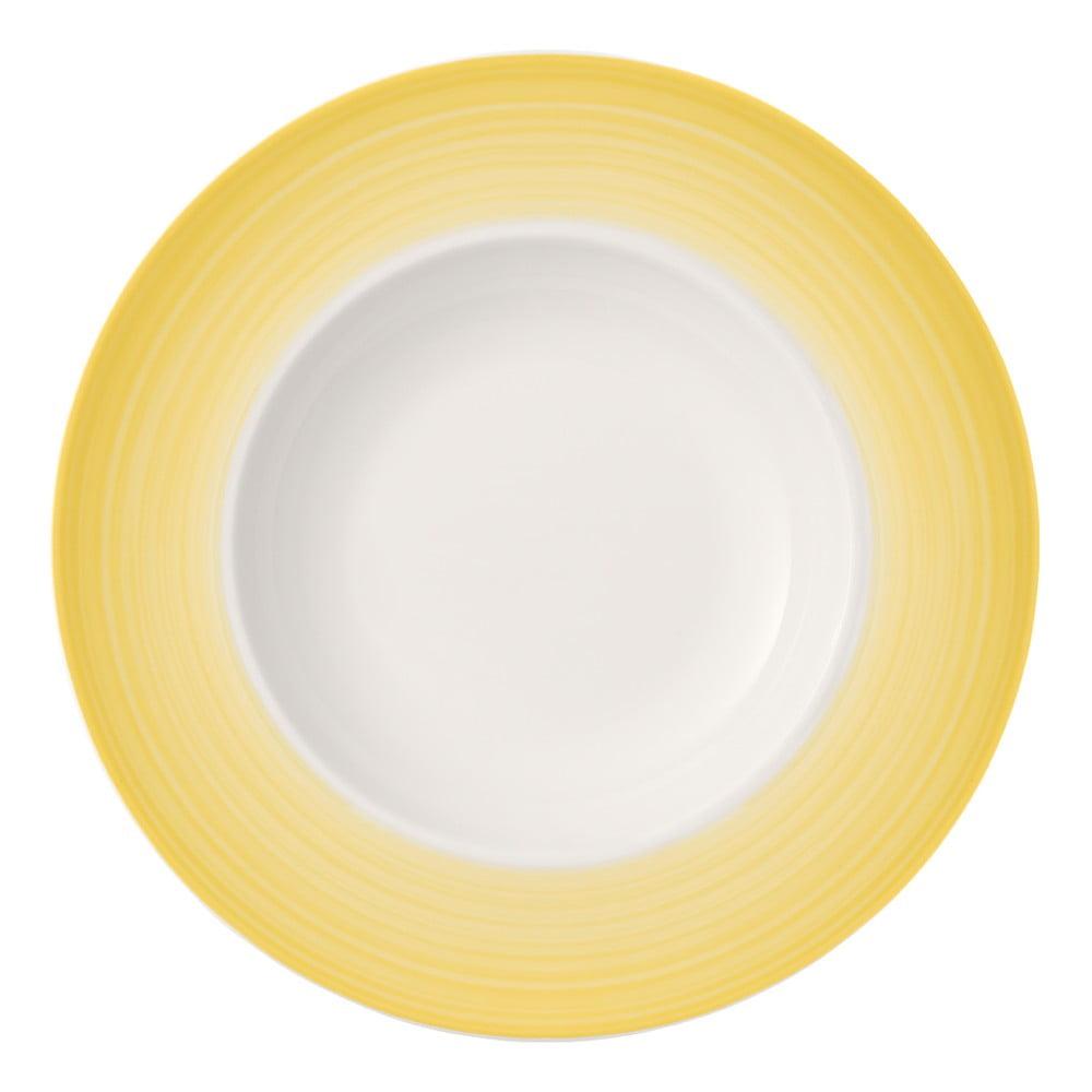 Bílo-žlutý hluboký talíř z porcelánu Villeroy & Boch Colourful Life, 30 cm