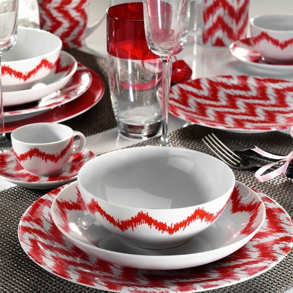 24dílná sada porcelánového nádobí Kutahya Red Lines