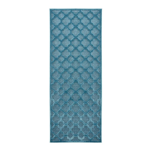 Niebieski chodnik z wiskozy Mint Rugs Bryon, 80x250 cm