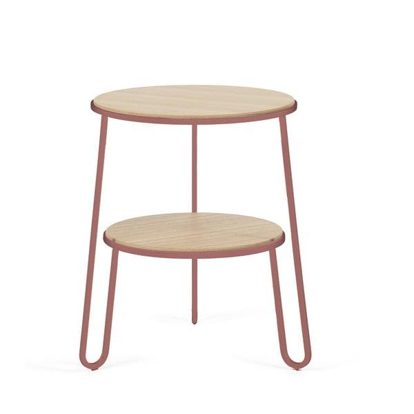 Odkládací stolek s růžovou kovovou konstrukcí HARTÔ Anatole, ⌀ 40cm