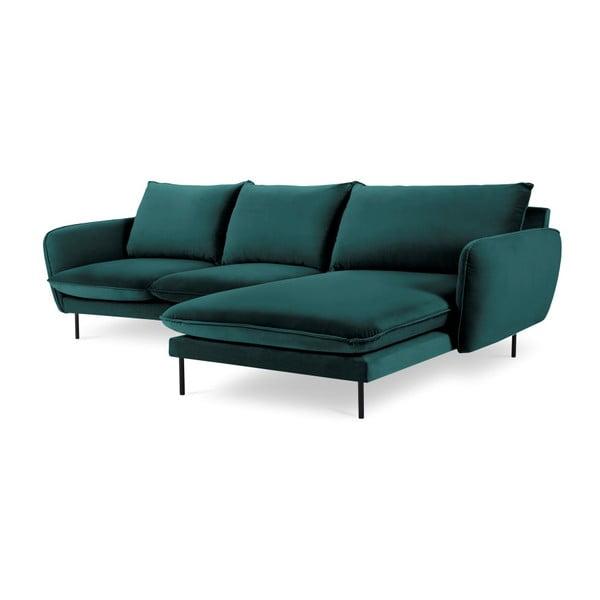 Morska narożna aksamitna sofa prawostronna Cosmopolitan Design Vienna