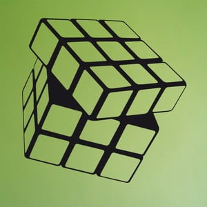 Samolepka Rubikova kostka, 62x59 cm