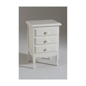 Noptieră din lemn cu 3 sertare Castagnetti Mare, alb