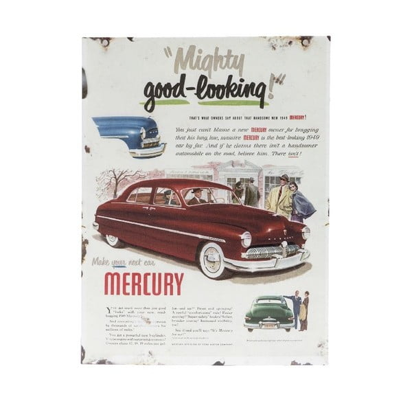 Nástěnná retro cedule Mercury Porte