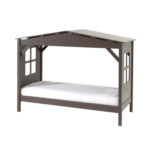 Szare łóżko dziecięce Vipack Pino Cabin, 90x200 cm