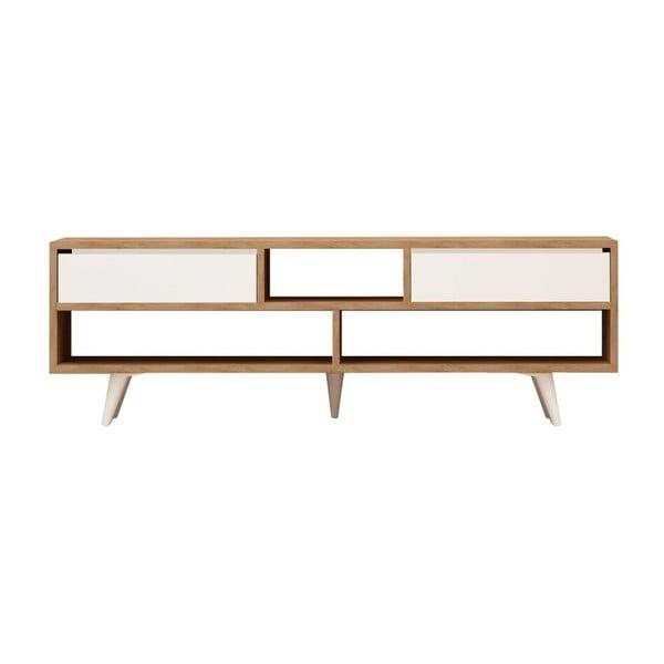 Biała szafka pod TV z detalami z dekorem drewna dębowego Garetto Glasgow