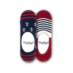 Sada 2 párů nízkých ponožek Funky Steps Stripes Anchor, velikost 39 – 45