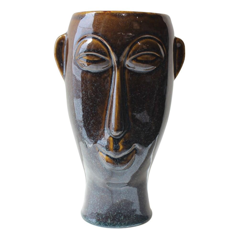 Tmavě hnědá porcelánová váza PT LIVING Mask, výška 27,2 cm