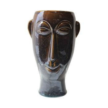 Vază din porțelan PT LIVING Mask, înălțime 27,2 cm, maro închis