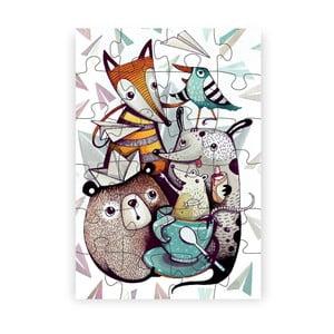 Puzzle z recyklovaných materiálů Pucle Lesná Crew, 24dílků