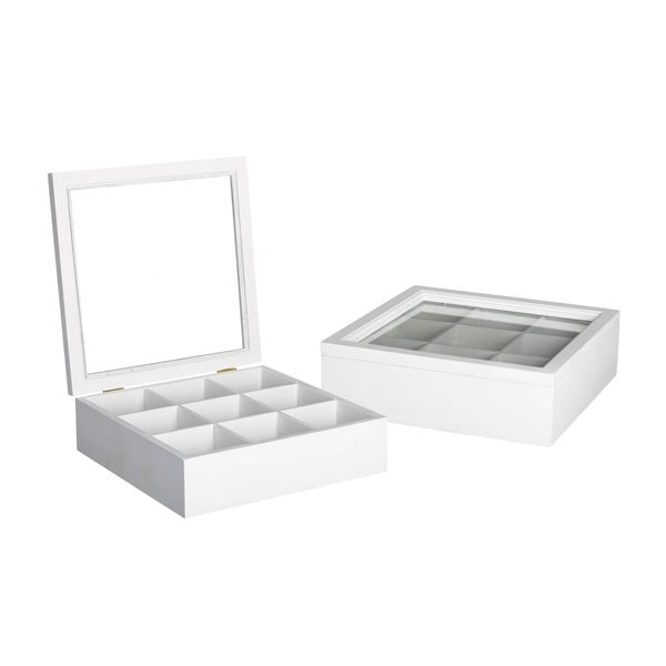 Krabička na čaj/šperkovnice White Box, 9 přihrádek