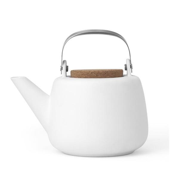 Bílá čajová konvička se sítkem a matným povrchem Viva Scandinavia Nicola,1l